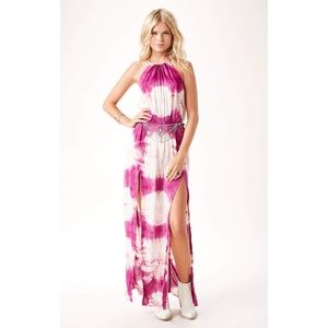 New blue Life Pink Tie Dye Double Slit Halter Maxi